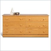 Prepac 6 Drawer Double Dresser in Oak Finish