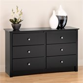 Prepac Sonoma Black Condo Sized 6 Drawer Double Dresser