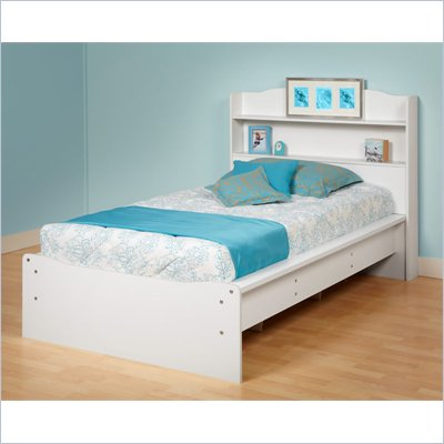 Prepac Aspen Twin Bookcase Platform Bed in White Finish