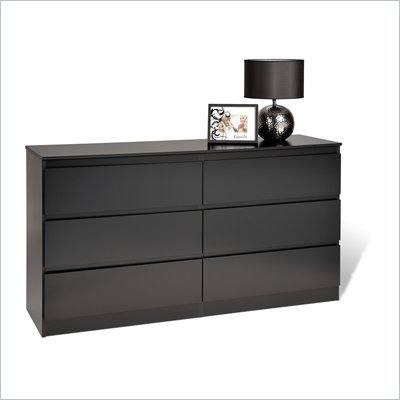 Prepac Avanti Six Drawer Dresser in Black