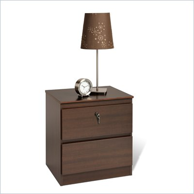 Prepac Avanti Two Drawer Locking Nightstand in Espresso