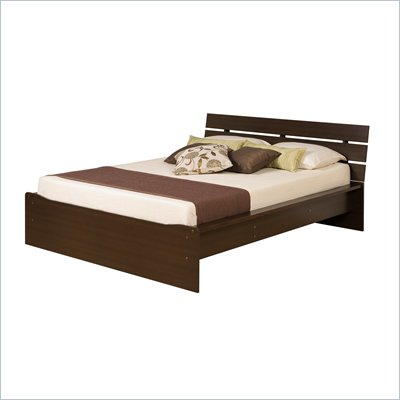 Prepac Avanti Double Platform Bed with Slat Headboard in Espresso