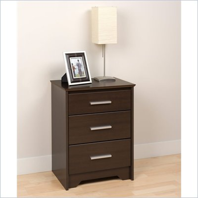 Prepac Coal Harbor Tall 3 Drawer Nightstand in Espresso Finish