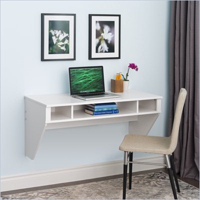 Prepac Designer Floating Desk in Fresh White Finish