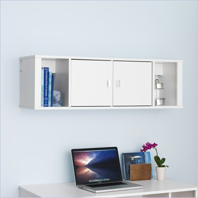 Prepac Designer Floating Hutch in Fresh White Finish