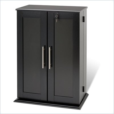 Prepac Small Shaker Style Deluxe Media Cabinet in Black
