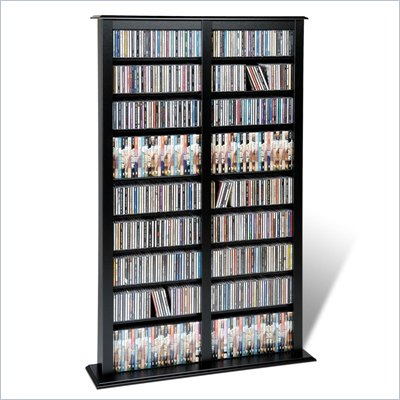 Prepac Double Width Barrister CD DVD Media Storage Tower in Black