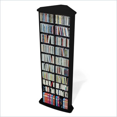 Prepac Corner Multimedia CD DVD Storage Tower in Black