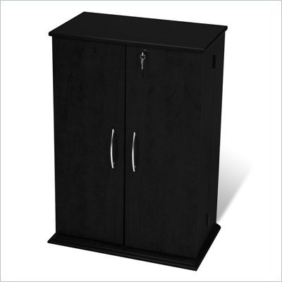 Prepac Locking CD DVD Media Storage Cabinet in Black