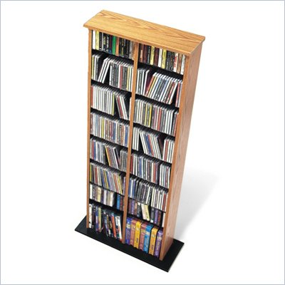 Prepac Double CD DVD Multimedia Storage Tower in Oak and Black