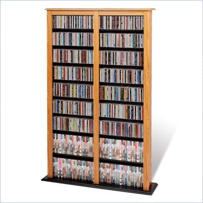 Prepac Double Width Barrister CD DVD Media Storage Tower in Oak and Black