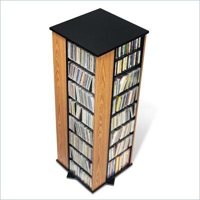 Prepac 4-Sided Spinning CD DVD Media Storage Tower in Oak and Black