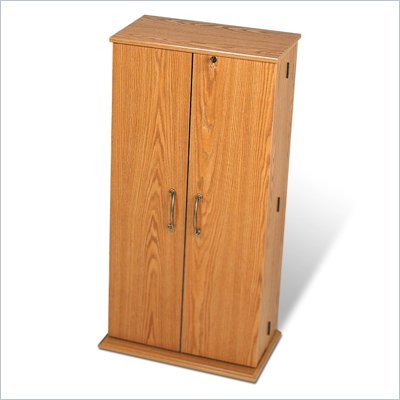 Prepac Tall Locking CD DVD Media Storage Cabinet in Oak