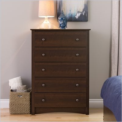 Prepac Fremont 5 Drawer Chest in Espresso Finish
