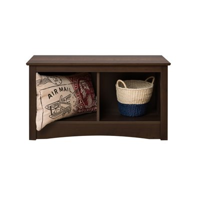 Prepac Fremont Twin Small Cubbie Storage Bench in Espresso Finish