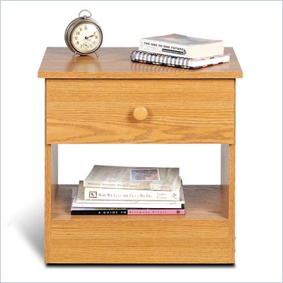 Prepac One Drawer Night Stand in Oak Finish