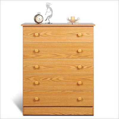 Prepac 5 Drawer Chest in Oak Finish