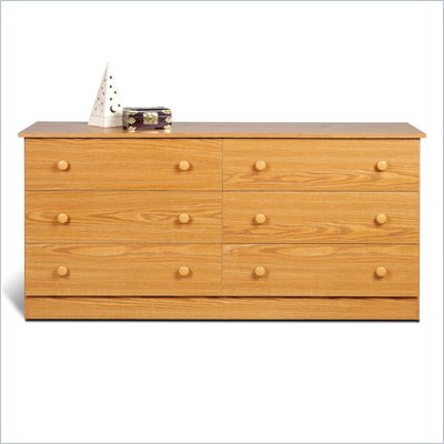 Prepac Six Drawer Double Dresser in Oak Finish