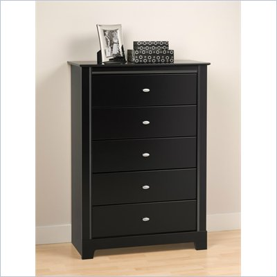 Prepac Kallisto 5 Drawer Chest in Black Finish