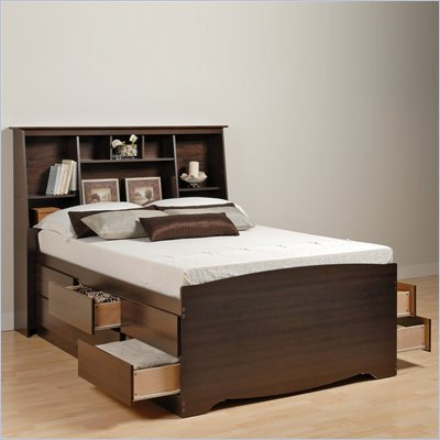 Prepac Manhattan Tall Double / Full Bookcase Platform Storage Bed in Espresso Finish