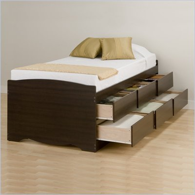 Prepac Manhattan Tall Twin Platform Storage Bed in Espresso