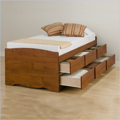 Prepac Monterey Cherry Tall Twin Platform Storage Bed