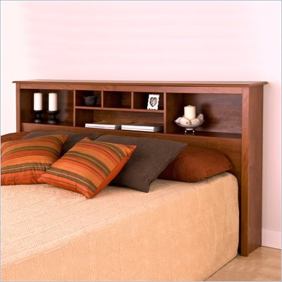 Prepac Monterey King Bookcase Headboard in Cherry Finish