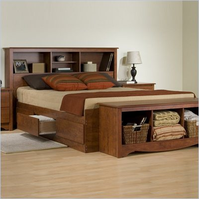 Prepac Monterey Cherry Queen Bookcase Platform Storage Bed