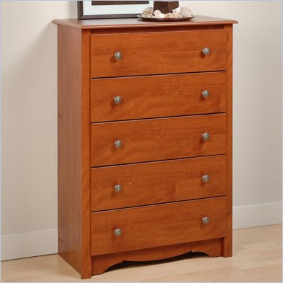 Prepac Monterey 5 Drawer Chest in Cherry Finish 