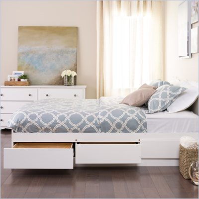 Prepac Monterey White Queen Platform Storage Bed
