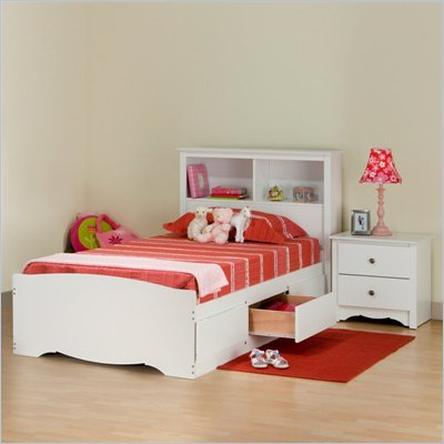 Prepac Monterey White Twin Wood Platform Storage Bed 3 Piece Bedroom Set
