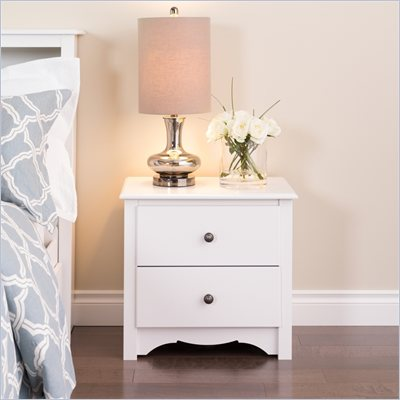 Prepac Monterey White 2 Drawer Night Stand
