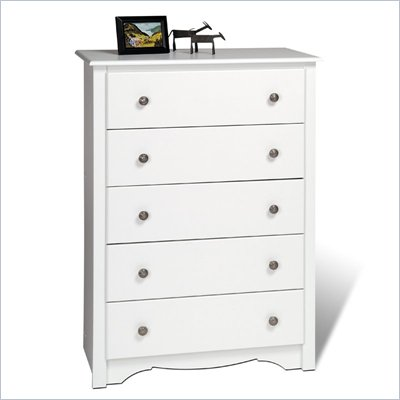 Prepac Monterey 5 Drawer Chest in White Finish