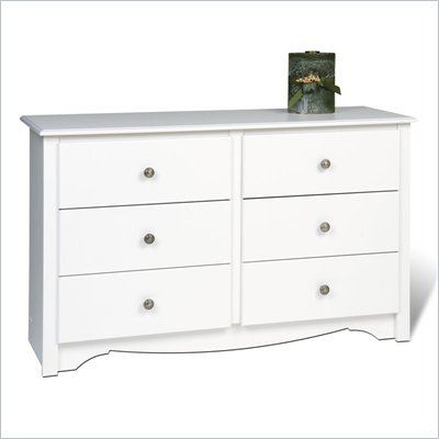 Prepac Monterey White Condo Sized 6 Drawer Double Dresser