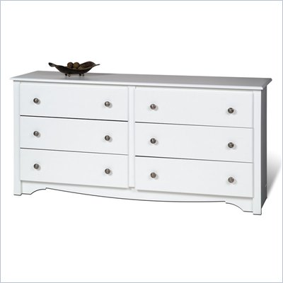 Prepac Monterey White 6 Drawer Double Dresser