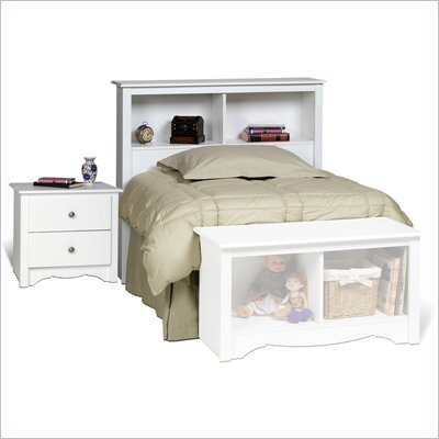 Prepac Monterey 2 Piece White Twin Platform Captain's Headboard &amp; Night Stand Set