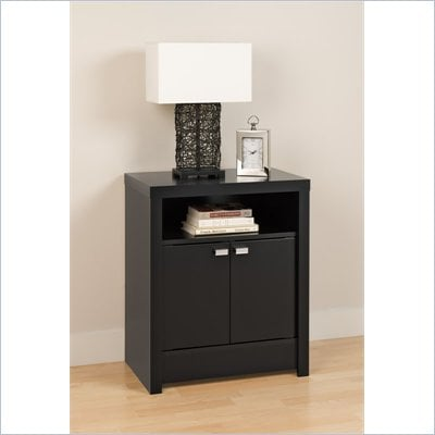 Prepac Series 9 Designer 2 Door Tall Nightstand in Black