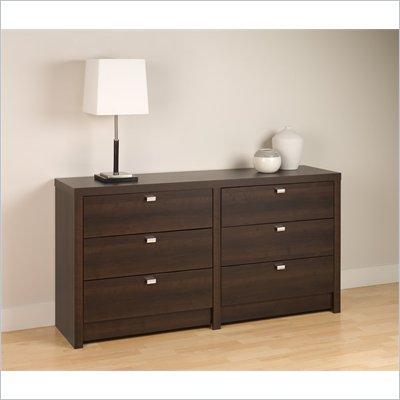 Prepac Series 9 Designer 6 Drawer Double Dresser in Espresso