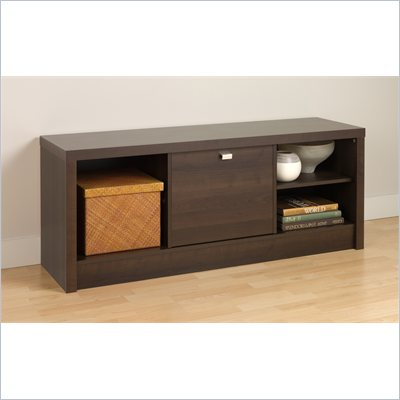 Prepac Series 9 Designer Cubbie Bench with Door in Espresso