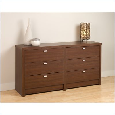 Prepac Series 9 Designer 6 Drawer Dresser in Medium Brown Walnut