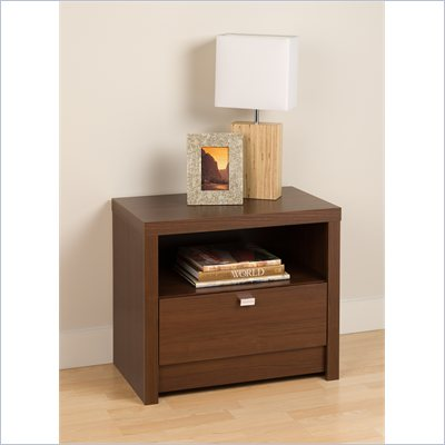 Prepac Series 9 Designer 1 Drawer Nightstand in Medium Brown Walnut