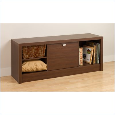 Prepac Series 9 Designer Cubbie Bench with Door in Medium Brown Walnut