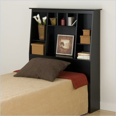 Prepac Slant-Back Tall Twin Bookcase Headboard in Black Finish