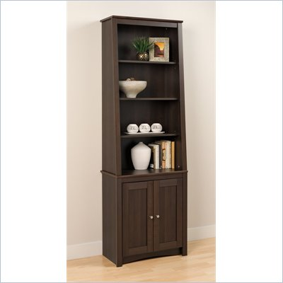 Prepac Slant-Back Bookcase with Shaker Doors in Espresso Finish