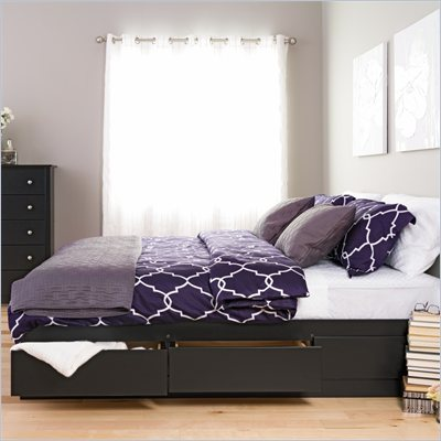 Prepac Sonoma Black King Platform Storage Bed with 6 Drawers