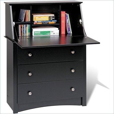 Prepac Sonoma Drop-Front Wood Secretary Desk in Black