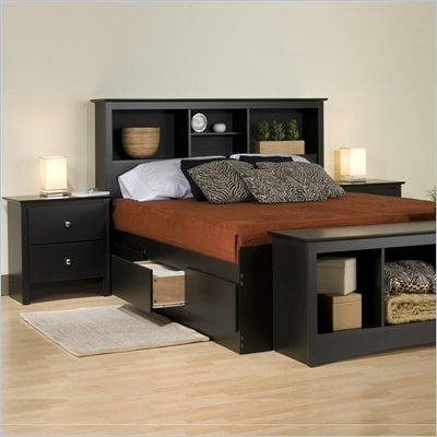 Prepac Sonoma Black King Platform Storage Bed 4 Piece Bedroom Set