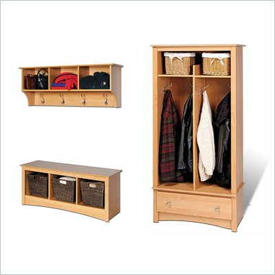 Prepac Maple Sonoma Entryway Package with Hall Tree , Bench and Coat Rack