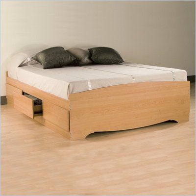 Prepac Sonoma Maple Queen Platform Storage Bed