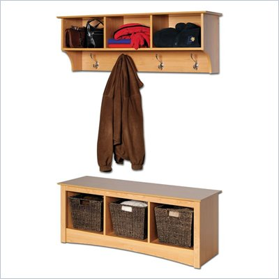 Prepac Sonoma Maple Cubbie Bench and Wall Coat Rack Set
